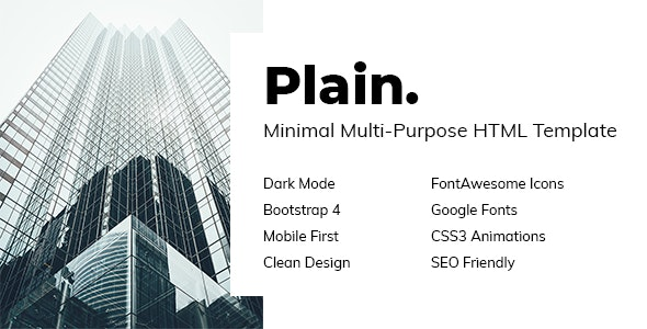 Plain - Minimal Multi-Purpose HTML Template - Portfolio Creative