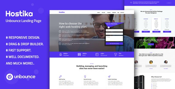Hostika — Unbounce Landing Page Template - Unbounce Landing Pages Marketing