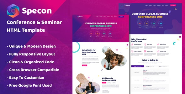 Specon - Conference & Seminar HTML Template - Events Entertainment