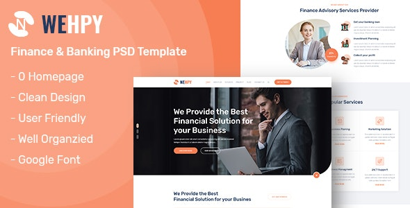 Wehpy - One Page Finance and Banking PSD Template - Business Corporate