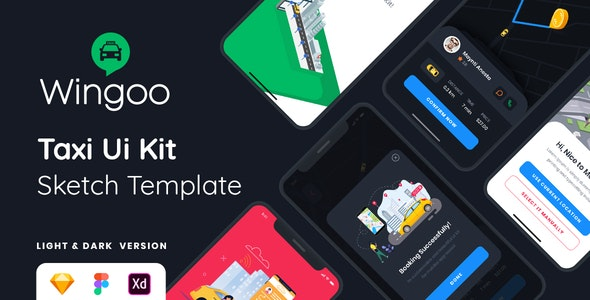 Wingoo - Taxi Ui Kit Sketch Template - Sketch Templates