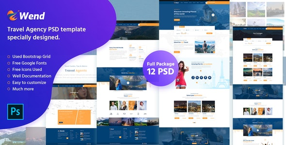 Wend - Modern Travel Agency PSD Template