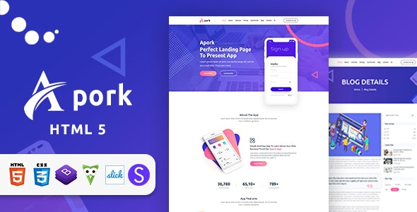 Apork - Product Landing HTML 5 Template - Technology Site Templates