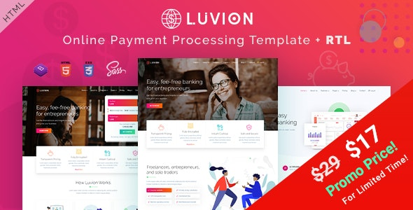 Luvion - Online Banking & Payment Processing HTML Template - Corporate Site Templates