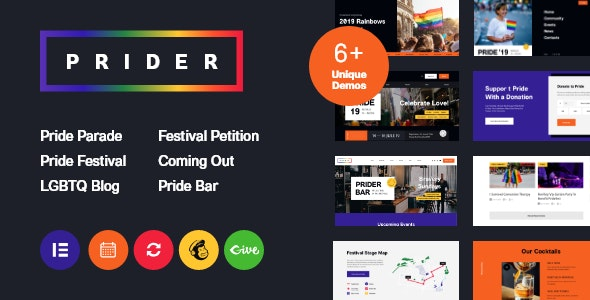 Prider | LGBT & Gay Rights Festival WordPress Theme + Bar - Activism Nonprofit