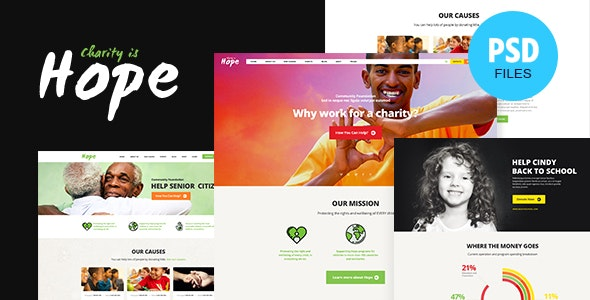 Hope | Non-Profit & Charity PSD Template - Charity Nonprofit