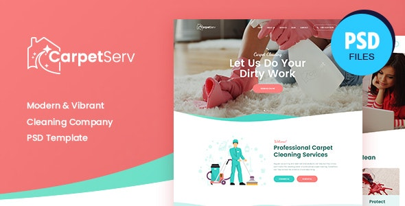 CarpetServ | Cleaning Company, Housekeeping & Janitorial Services PSD Template - Retail PSD Templates