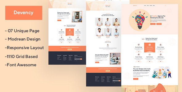 Devency - Creative Agency PSD Template - Creative Photoshop