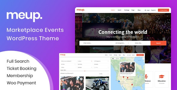 Meup - Marketplace Events WordPress Theme - Directory & Listings Corporate