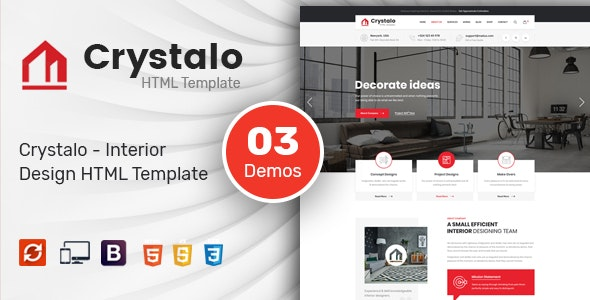Crystalo - Interior Design HTML Template - Business Corporate