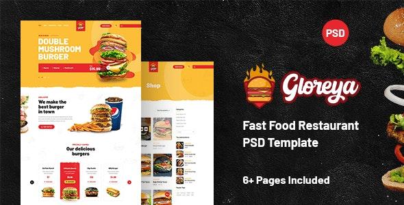 Gloreya - Fast Food Restaurant PSD Template - Food Retail
