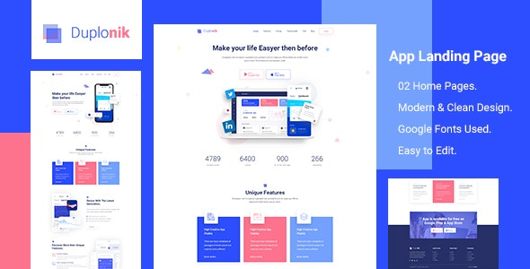 Duplonik - App Landing Page PSD Template - Software Technology
