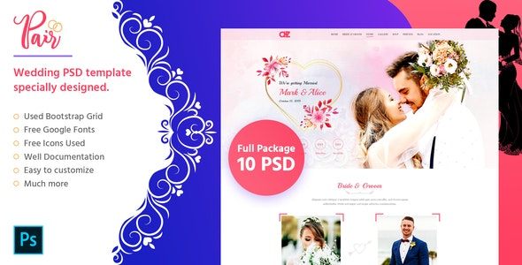 Pair - Wedding PSD Template