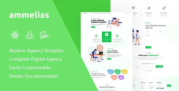 Ammelias - React Material UI Digital Agency Template - Business Corporate