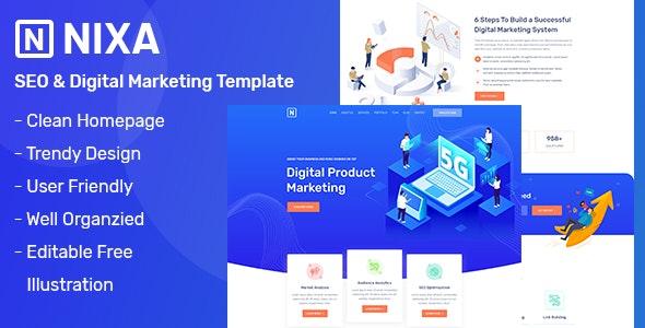 NIXA - SEO & Digital Marketing PSD Template - Marketing Corporate