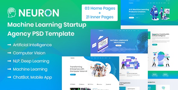 Neuron - Machine Learning & AI Startups PSD Template - Software Technology