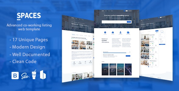 Spaces - Coworking Listings Template - Business Corporate