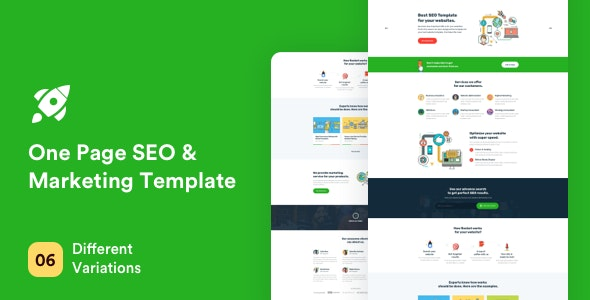 Rocket - One Page SEO and Marketing Template - Marketing Corporate