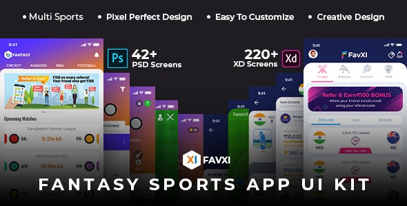 FavXI - Fantasy Sports App PSD+XD Template - Software Technology