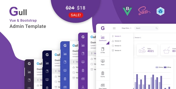 Gull - Vuejs Admin Dashboard Template - Admin Templates Site Templates