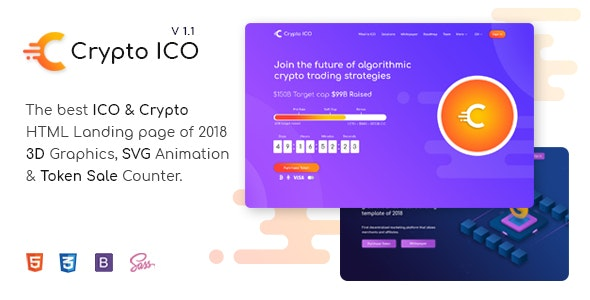 Crypto ICO - Cryptocurrency Website Landing Page HTML Template - Technology Site Templates