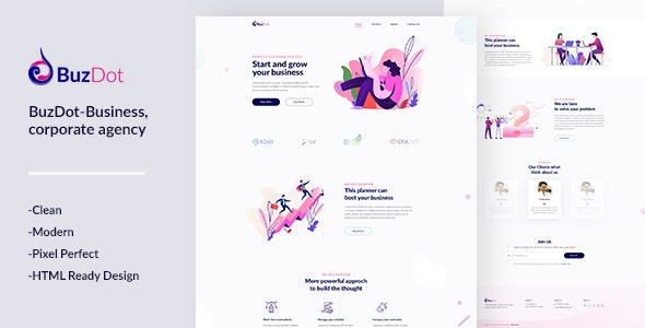 BuzDot-Business and corporate agency PSD template - Business Corporate