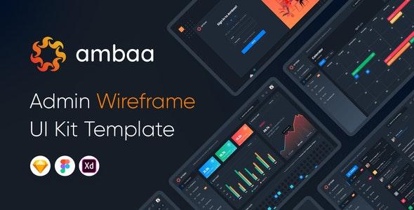 Ambaa - Admin Dashboard Wireframe Ui Kit Template - Sketch Templates