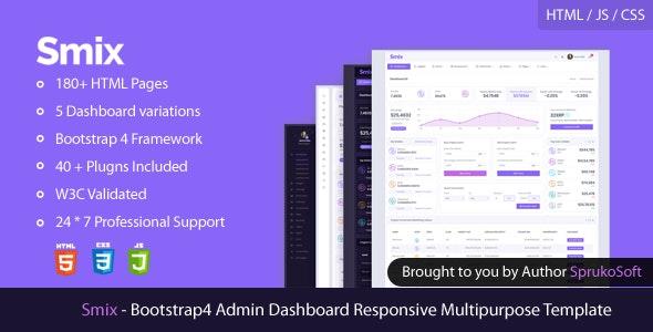 Smix – Bootstrap 4  Admin HTML Template - Admin Templates Site Templates