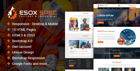 Esox Spec – Factory & Industrial HTML Template - Business Corporate
