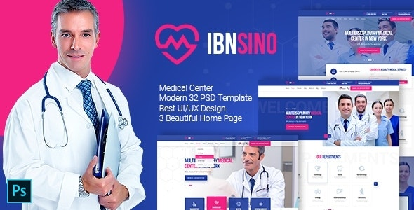 IBNSINO - Modern Medical PSD Template - Health & Beauty Retail