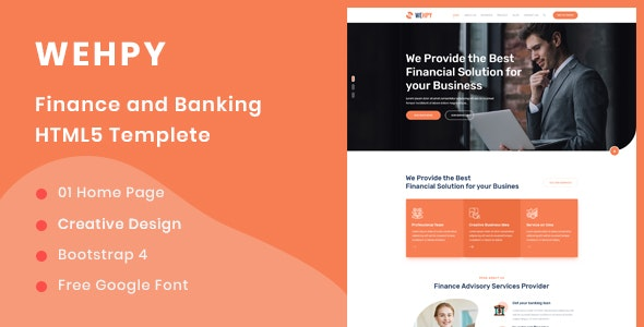 Wehpy - Multipurpose Finance and Banking HTML5 Template - Business Corporate