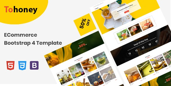 Tohoney - eCommerce Bootstrap 4 Template - Food Retail