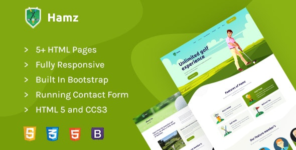 Hamz - Golf and Sport HTML template - Retail Site Templates