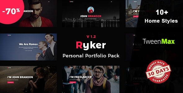 Ryker - Personal / Portfolio / Resume Template - Virtual Business Card Personal