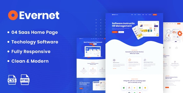 Evernet - HTML5 Template for Software, Startup & Agency - Software Technology