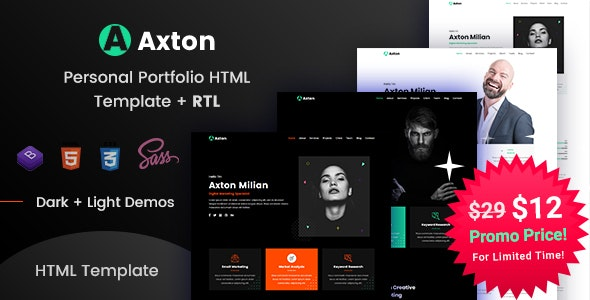 Axton - Multipurpose Personal Portfolio HTML Template - Virtual Business Card Personal