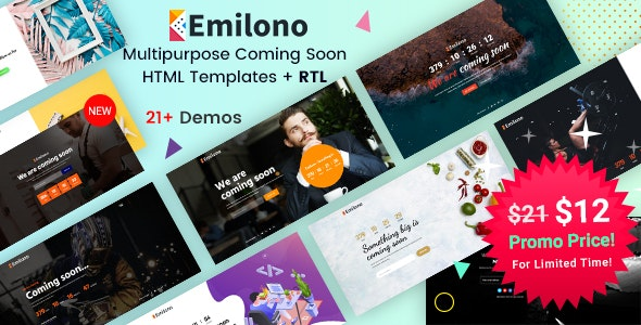 Emilono - Coming Soon HTML Templates - Under Construction Specialty Pages