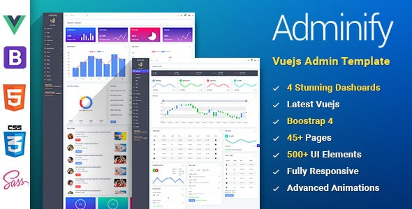 Adminify - VueJS Bootstrap 4 Admin Template - Admin Templates Site Templates