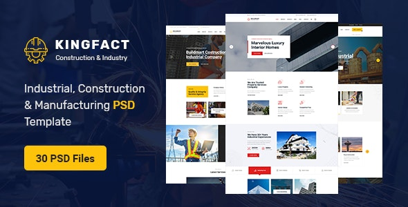 Kingfact - Industrial Construction & Manufacturing PSD Template - Business Corporate