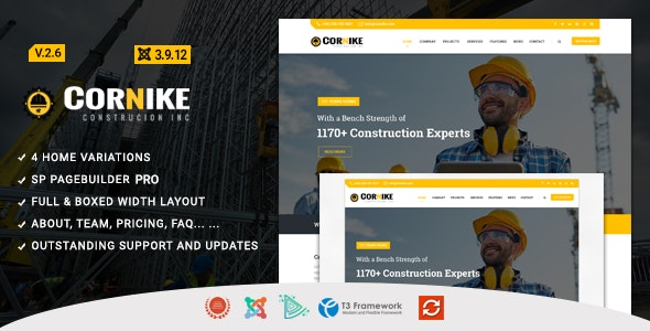 Cornike - Construction Business Joomla Template - Business Corporate