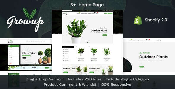 Growup - Plants and Nursery Responsive Shopify Theme - Shopify eCommerce