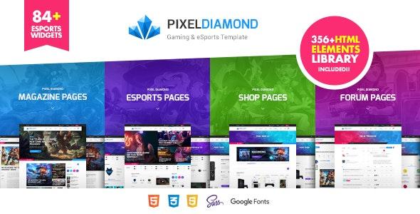 Pixel Diamond - HTML eSports Team, Sports Results & Gaming Magazine & Community - Entertainment Site Templates