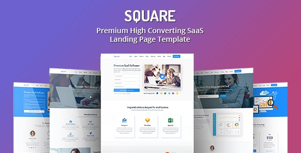Square - Premium High Converting SaaS Landing Page Template - Software Technology