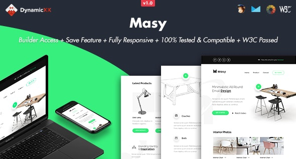 Masy - Responsive Email + Online Template Builder - Email Templates Marketing