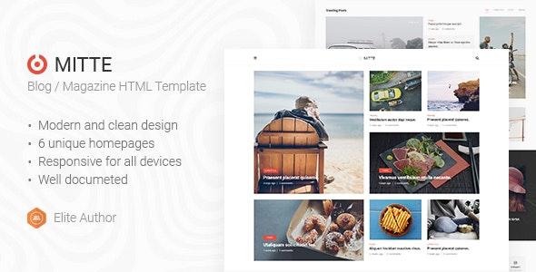 Mite - Simple Blog HTML5 Template - Entertainment Site Templates