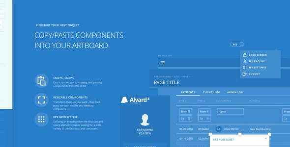 Alvard 4 Wireframe Kit - Collection of Symbols and Templates for Sketch