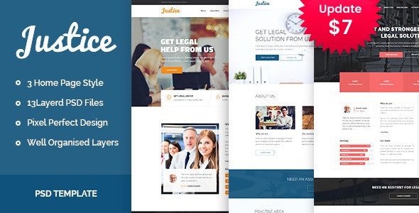 JUSTICE - Law & Business PSD Template - Photoshop UI Templates