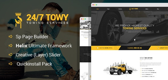 Towy - Emergency Auto Towing and Roadside Assistance Service Joomla Template - Business Corporate