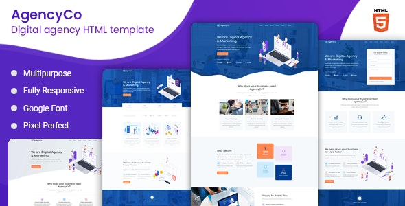 AgencyCo - Digital Agency and Marketing Template - Corporate Landing Pages