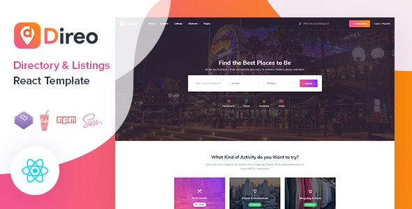 Direo - Directory & Listing React Template - Site Templates